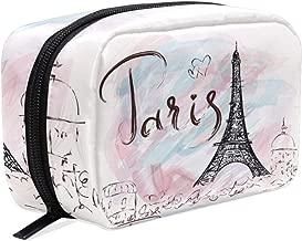 Hot Air Balloons Bicycle Makeup Bag Cosmetic Bag Toiletry Travel Bag Case for Women, Romantic Paris Eiffel Tower Portable Pen Pencil Organizer Storage Pouch Bags Box