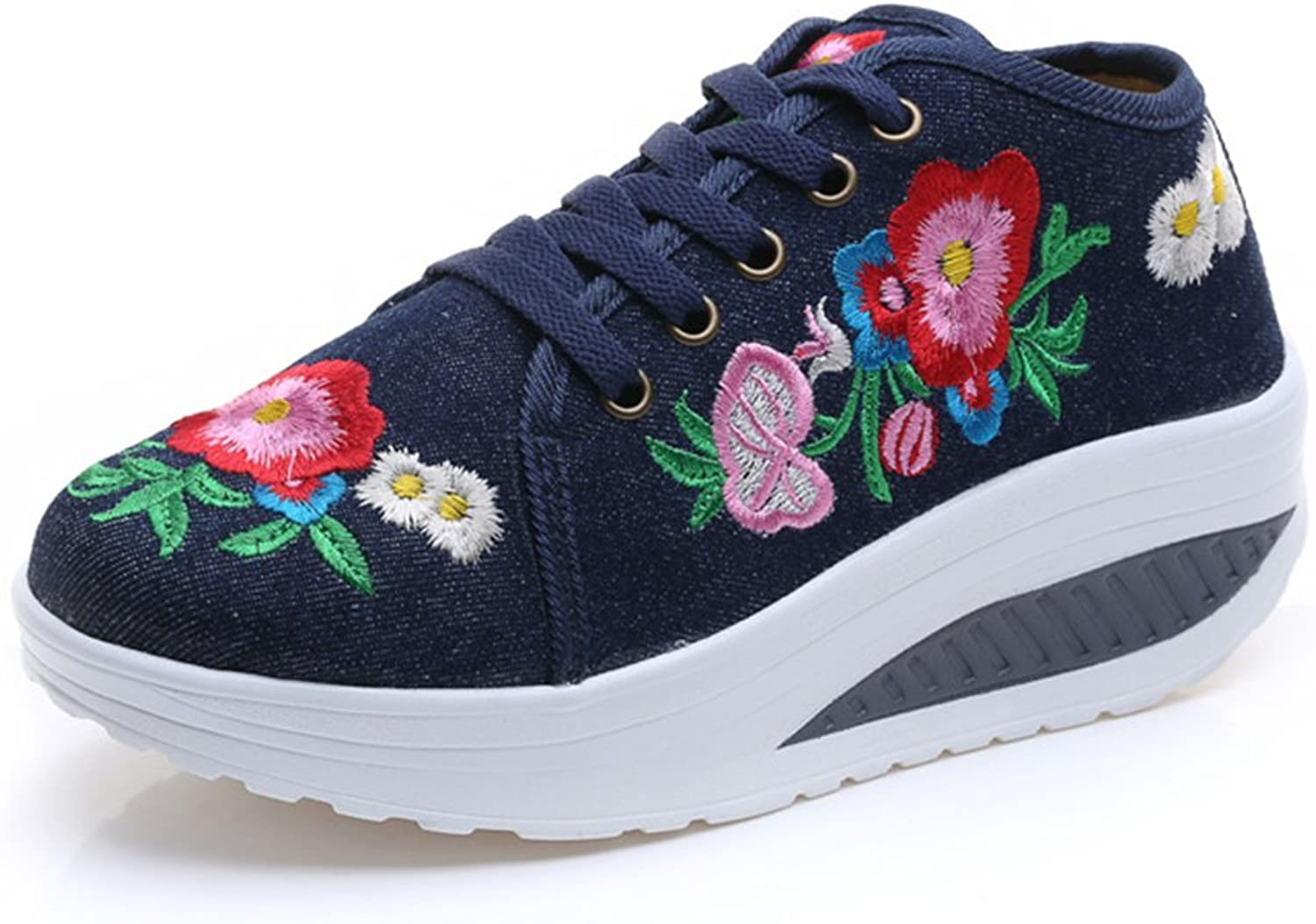 D-Sun Women Floral Embroidered Canvas Platform shoes Slip On Shape Up Toning Fitness Sneakers