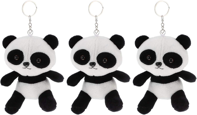 VALICLUD 3pcs Panda Keychain Plush Stuffed Animal Pendant Keyring Handbag Purse Backpack Charm Ornaments