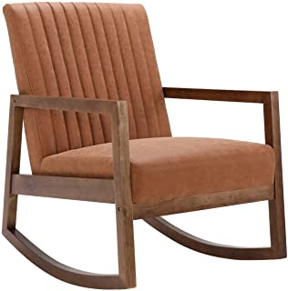 CIMOO Faux Leather Rocking Armchair for Nursery Mid Century Modern Recliner Accent Chair Comfy Lounge Arm Chair for Bedroo...