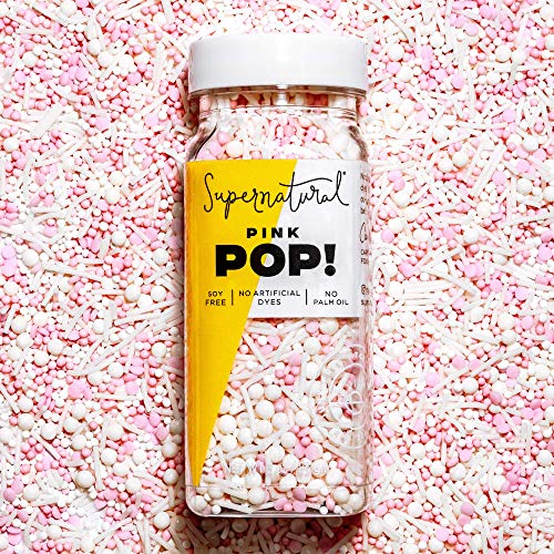 Pink Pop! Sprinkles by Supernatural, Natural Nonpareils, No Artificial Dyes, Gluten-Free, Vegan, Soy Free for Healthy Baking 3oz