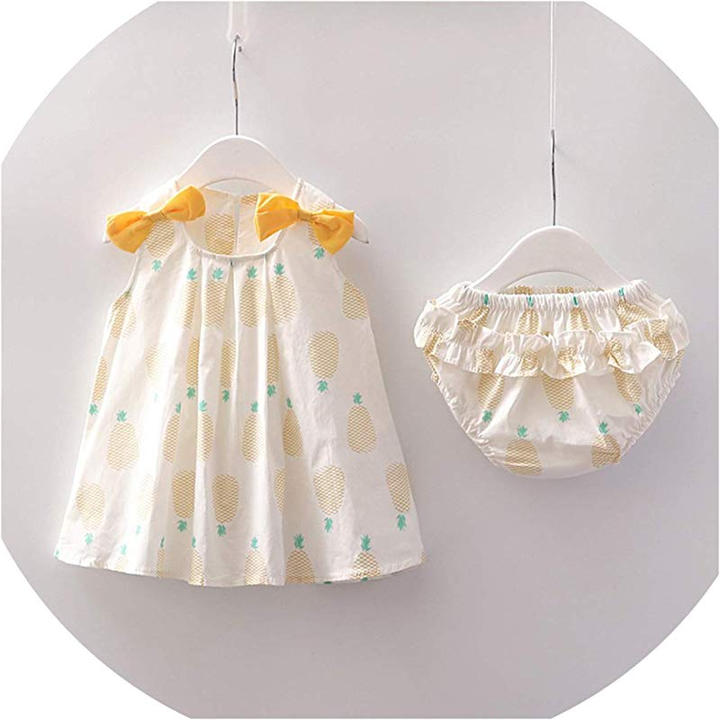 Ivyi Girls Carrot Print Bowknot Set Outfits Clothes Casual O K Sleeveless Cute Yellow 6M United Ates
