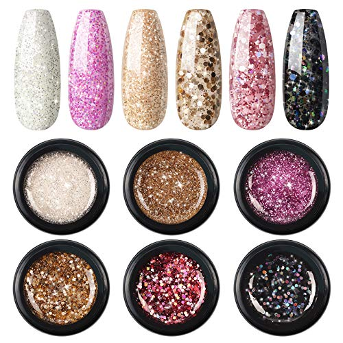 Fashion Zone 6 Color Glitter Gel Nail Polish Set, Soak Off LED Nail Polish Set Art Painting Colors Pigment