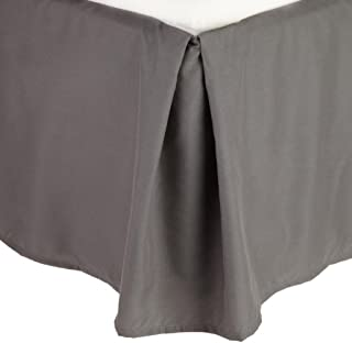 Clara Clark Premier 1800 Collection Solid Bed Skirt Dust Ruffle, Twin, Charcoal Gray