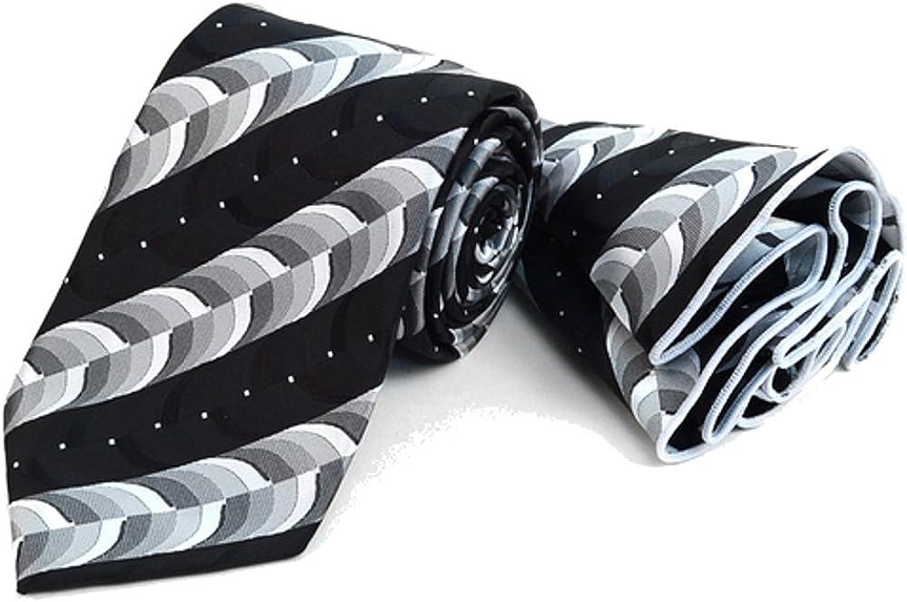 Men's Hipster Geometric Tie Necktie & Round Pocket Square Hankie Gift Set