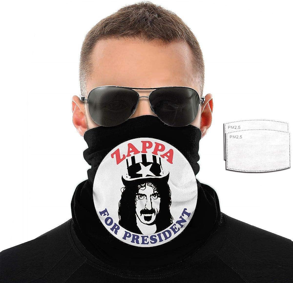 Frank Zappa Bandana with A Filtration Mask Outdoor Balaclava Personality Mask for Summer Cycling Hiking Fishing