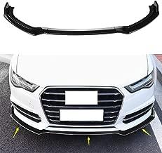 MotorFansClub 3pcs Front Bumper Lip for 2016-2018 Audi A6 Sport Splitter Trim Protection Spoiler Body Kit, Bright Black