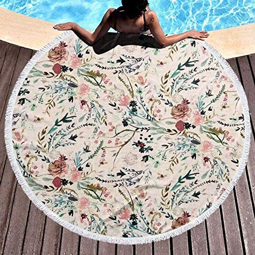 HWYLOVE The round large beach towel is beautiful With tassels, elegant, quick-drying and multi-purpose Fable Floral Yoga Mat Shawl Leisure Picnic Bedspread Tablecloth