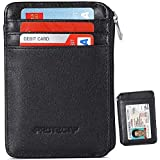 RFID Blocking Sleeves Front Pocket Wallet for Men, Secure Credit Card Wallet Mini Card Holder with Zipper and Id Window, Genuine Leather Durable Slim Wallets