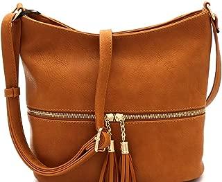 Zipper Pocket Compartment Soft PU Leather Tassel Boho Cross Body Messenger Sling Bag