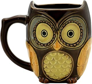 Teagas Cute Owl Mug Cup 12 oz - Brown Cute Owl Morning Coffee Ceramic Mug Cup