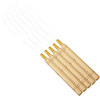 JUMP Wooden Hair Extensions Loop Needle Threader Wire Pulling Hook Tool for silicone microlink beads and feathers (5pcs)