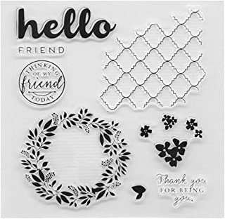 ❤JaneMo New Arriving Clear Stamps Cre Wreath Garland Pattern Transparent Silicone Clear Rubber Stamp Cling Diary Scrapbooking DIY Art Craft Decoration