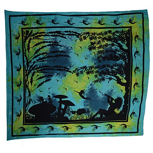 KUNST UND MAGIE Wandbehang Elfe Fairy ca. 205 x 225 cm, Farbe:Blau/Gruen