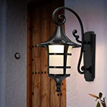 MKKM Nostalgische Antieke Zwarte Afwerking Muur Lantaarn E27 Aluminium Waterdichte Wandlamp Retro Industriële Outdoor Wand...