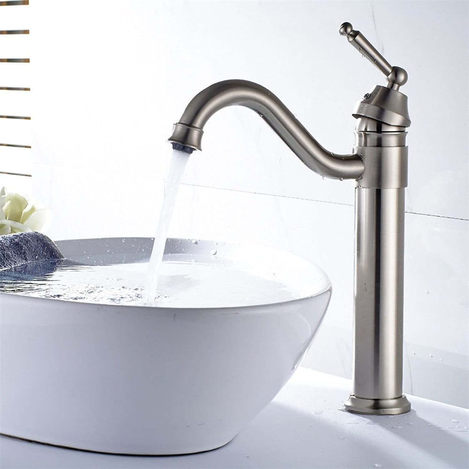 ETERNAL QUALITY Bathroom Sink Basin Tap Brass Mixer Tap Washroom Mixer Faucet The copper-nickel brushed bathroom basin faucet elbow out of the water to redate the surface
