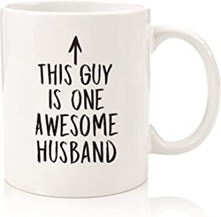 Husband Gifts - Funny Coffee Mug - One Awesome Husband - Best Valentines Day or Anniversary Gifts For Men, Him - Unique Birthday Idea From Wife - Fun Novelty Cup For the Mr, Hubby - 11 oz (White)