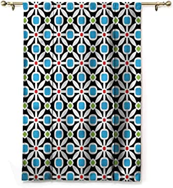 "HouseLookHome Roman Curtain Floral Kitchen Curtains and Valances Abstract Geometric Squares Home Fashion Window Treatment Rod Pocket Panel, 36"" W x 72"" L"