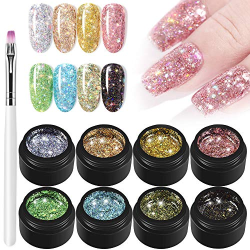 Freeorr 8 Farben UV Gel Farbgele Mischung Glitzer Set + Nagelstift,glänzender Diamant Nagellack,Super Platin Nagellack UV LED Gel Glitzer Lack Serie Einweichen Nagellack Set 5ml
