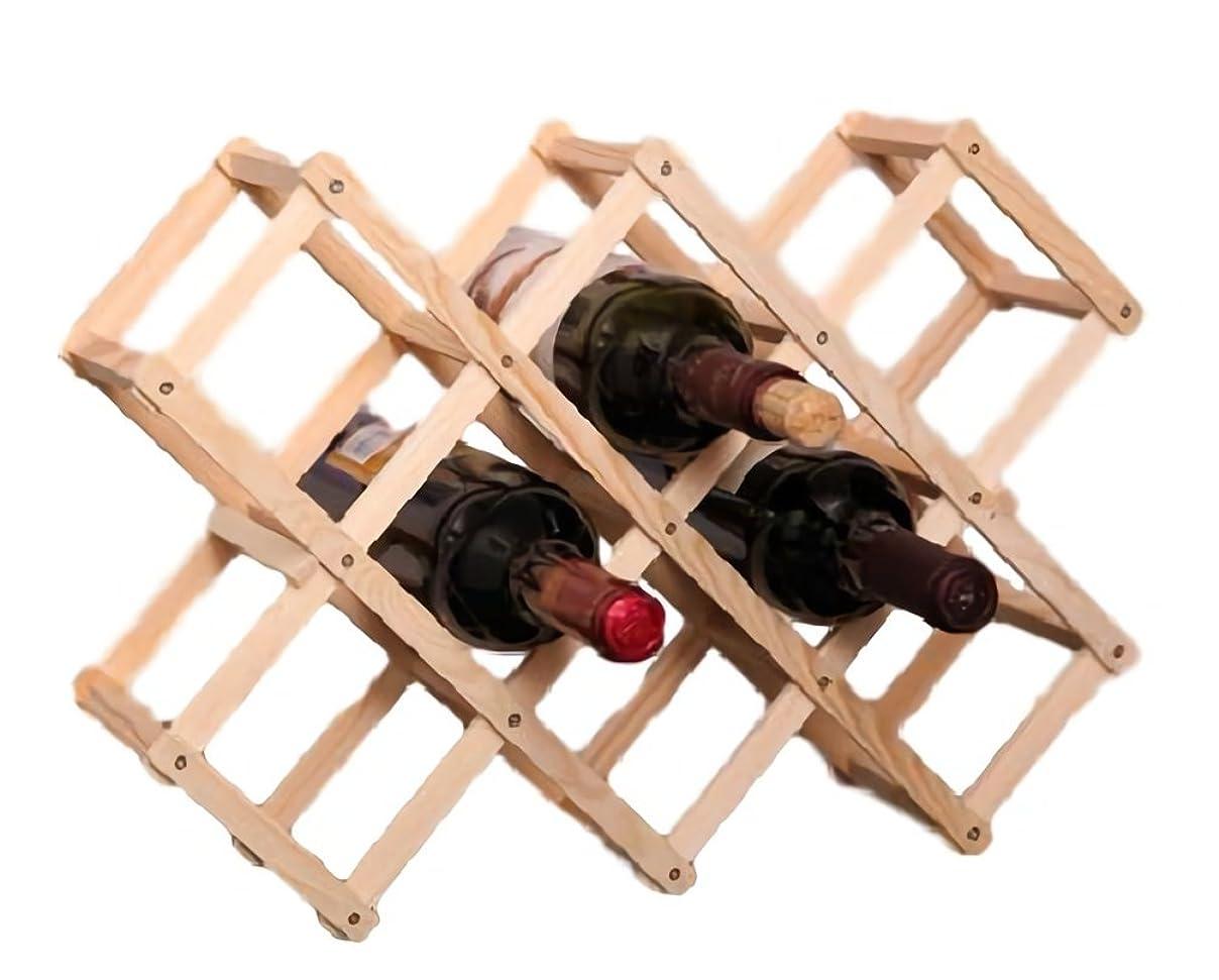 アマゾンジャングル発見する敬意rubitas ワイン ボトル ラック セラー 収納 ケース 木製 棚 横置き 保存 スタンド オシャレ ホルダー (白 10本用)