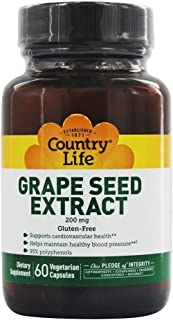 Country Life Grape Seed Extract - 200 mg, 60 Vegetarian Capsules