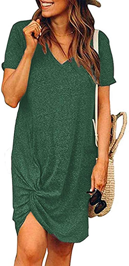 Locryz Women's Summer Twist Knot Tshirt Dresses Casual V Neck Short Sleeve Knot Dress
