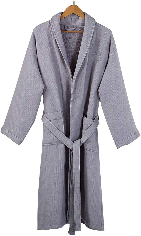 Bathrobe Women Men Hotel Spa Waffle VNeck Sleepwear Soft Cotton Thickened Towel Bathrobes Unisex