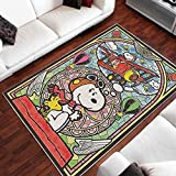 S-NOO-py Area Rug,The Charlie Brown and S-NOO-py Show Floor Area Rug Floor Carpet Living Room Home Decorative Special Design Washable Anti-Skid Base Indoor Meaningful Birthday Gifts