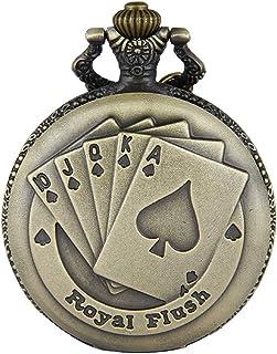 JewelryWe Pendentif Collier Montre de Poche Ronde Quartz Fantaisie Poker et Chiffres Alliage Couleur Cuivre Montre à Gouss...