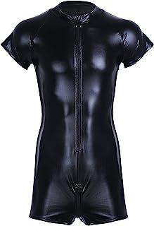 KKmeter Men's One Piece Faux Leather Bodysuit Mesh Side Front Zipper Leotard jumpsuit