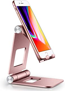 Fwaytech スマホ スタンド 折り畳み式 角度調整可能, スタンド 充電スタンド ホルダー 対応 Nintendo Switch, 携帯電話, アイフォン, iPhoneXS XSMax XR X 8 7 6 6s plus 5 5s SE,Samsung S3 S4 S5 S6 S7, Galaxy S7 S6, Note 6 5, LG, Sony Xperia (ローズゴールド(折り畳み式))