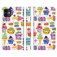 Ruuu iPhone 12 mini 手帳型 スマートフォン iPhoneケース カバー 水彩 sweets スウィーツ 食べ物 カラフル フルーツ マカロン ガーリー おしゃれ かわいい ユニーク