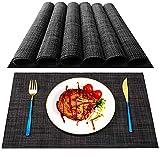 MOSIIKON Manteles Individuales Lavables Salvamantele Individuales PVC Antideslizantes Resistente al Calor Juego de 6 para la Mesa de Comedor de Cocina