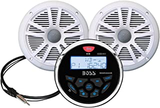 BOSS Audio Systems MCKGB350W.6 Weatherproof Marine Gauge Receiver and Speaker Package - IPX6 Receiver, 6.5 Inch Speakers, Bluetooth Audio, USB/MP3, AM/FM, NOAA Weather Band Tuner, no CD Player