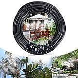Tencoz Système de brumisation, 15M 18 Buse Jardin Brumisation Refroidissement Système d'arrosage Distribution Brumisateur pour Patio Jardin Serre Trampoline pour Parc Aquatique (15M)