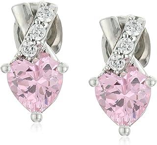 أقراط من الفضة الاسترليني الوردي والأبيض مكعب زركونيا على شكل قلب