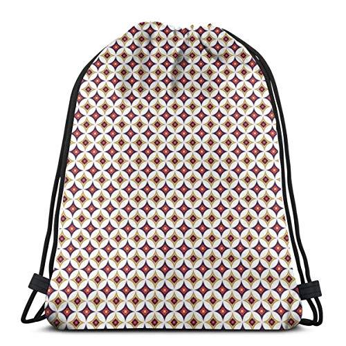 Bolsa de viaje con cordón de bapa para deporte, gimnasio, cincha, para mujeres, hombres, niños, balinés, étnico retro mosaico con círculos y cuadrados