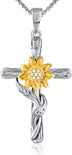 Sunflower Pendant Necklace for Women Gold Flower Necklace...