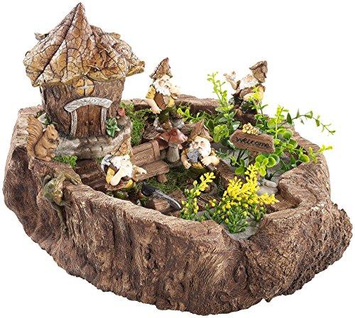 Royal gardineer - Souche décorative - Les lutins des bois et leur maison de feuilles