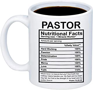 MyCozyCups Gifts For Pastor - Pastor Nutritional Facts Coffee Mug - Funny 11oz Cup For Religious Congregation Church Pastors, Youth Pastor, Christians - Appreciation Christmas Gift For Him