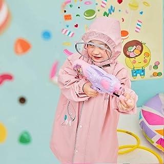 Children Raincoat Boys Girls,Rainwear with Visor Waterproof Backpacking for School Raincoat Umbrella Cute Rain Jacket