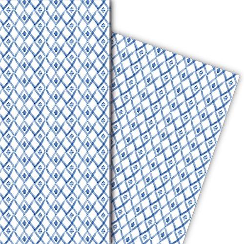 Kartenkaufrausch Set van 4 vellen, decoratief papier met kleine aquarel ruiten voor leuke cadeauverpakking, patroonpapier om te knutselen 32 x 48 cm