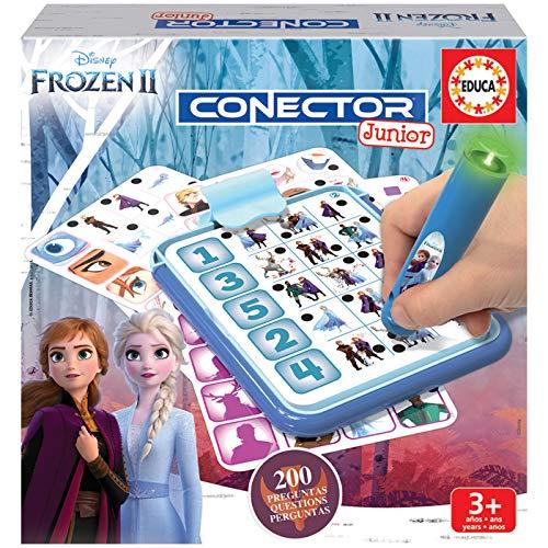 Educa- Conector Junior Frozen II Juego de Preguntas y respuestas, Incluye boli Sabio con led, para niños de Entre 3 y 5 años (18543)