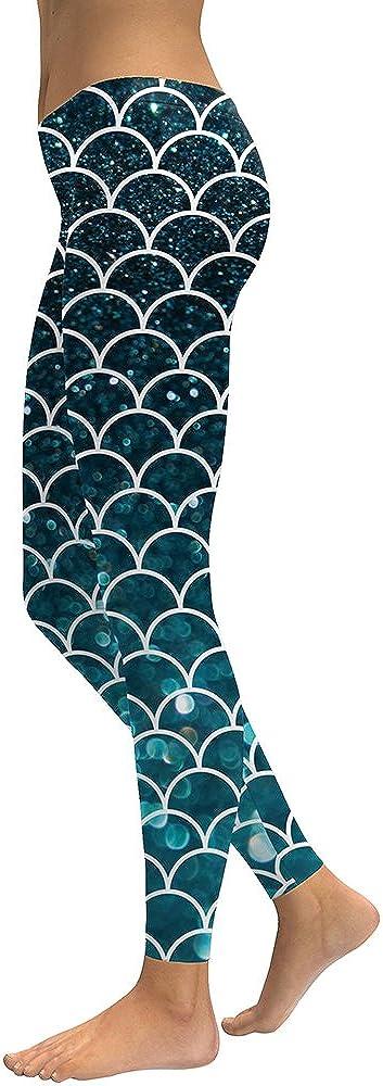 BASIC HOUSE Women's Mermaid Fish Scale Printing Full Length Leggings Yoga Pants