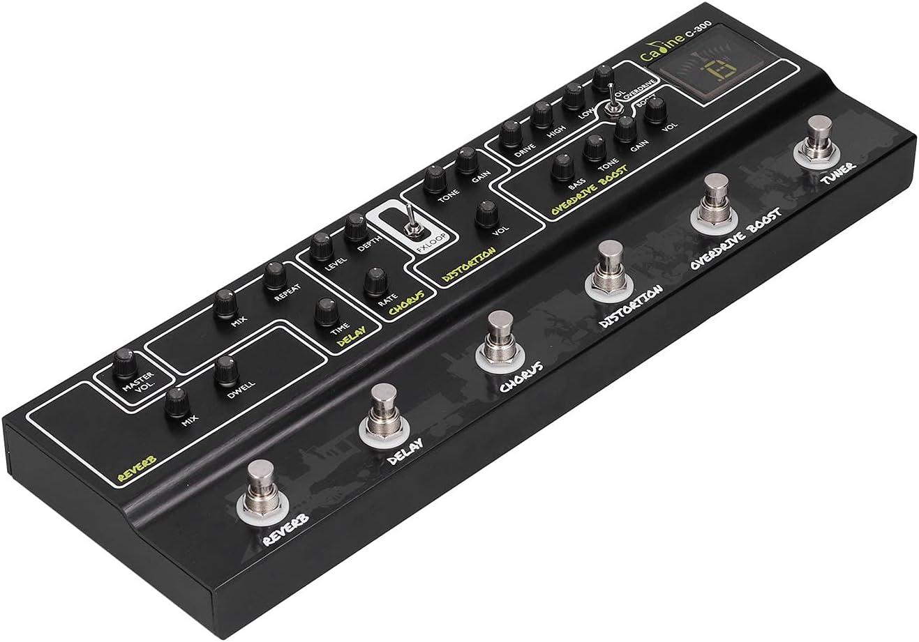 Accesorios de guitarra, 6 efectos de simulación Función auxiliar Pedales de efecto Uitar Afinador de pedal integrado para accesorio de guitarra para suministro de instrumentos