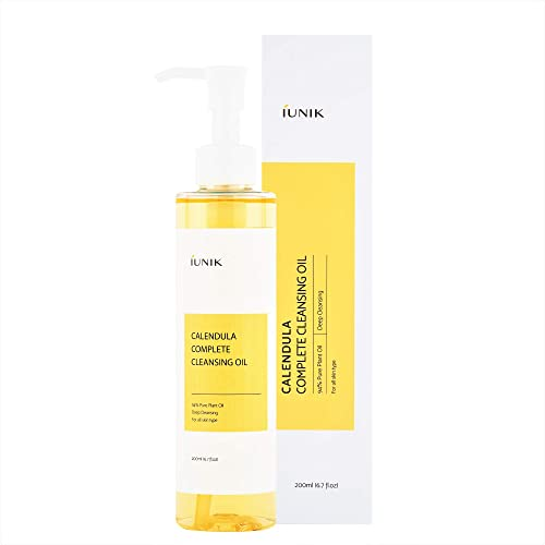 iUNIK Calendula Complete Deep Cleansing Oil, 6.70 Fl Oz – 94% Natural Oil Cleanser, Makeup Remover for Waterproof Mak...