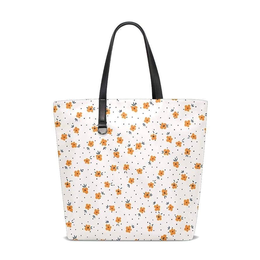 読者ゲージ発明トートバッグ かばん ポリエステル+レザー 小さな花 黄色 両面使える 大容量 通勤通学 メンズ レディース