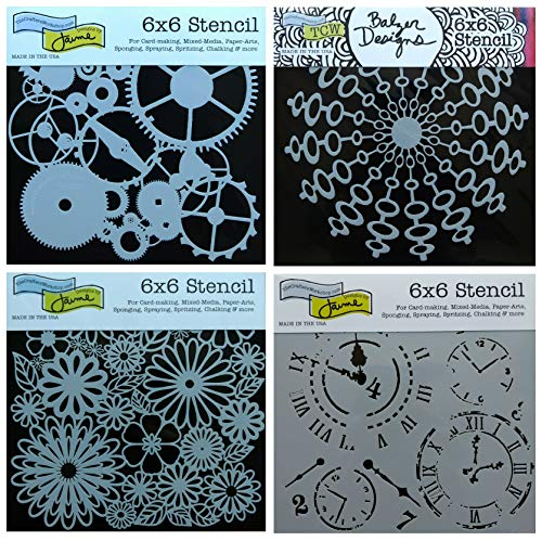 4 Crafters Workshop Stencils | Gears, Clock, Steampunk, Watch Face Designs | Mixed Media Stencils Set Includes 6 Inch x 6 Inch Templates for Painting, Arts, Card Making, Journaling, Scrapbooking