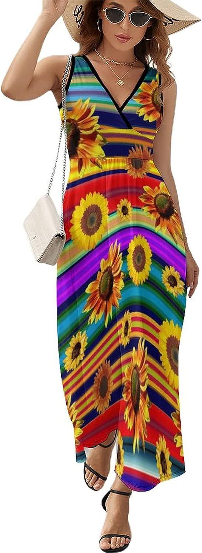 Tvsuh-u Women's Beach Max 67% OFF Maxi Dress Stripe Don't miss the campaign Colorful Summe Sunflower