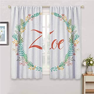 GUUVOR Zoe Room Darkened Curtain Blossoming Nature Design Foliage Leaves Silhouette Baby Girl Name Arrangement Wreath Insulated Room Bedroom Darkened Curtains W54 x L63 Inch Multicolor